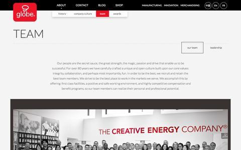 Screenshot of Team Page globe-electric.com - Team | Globe Electric - captured Nov. 9, 2016