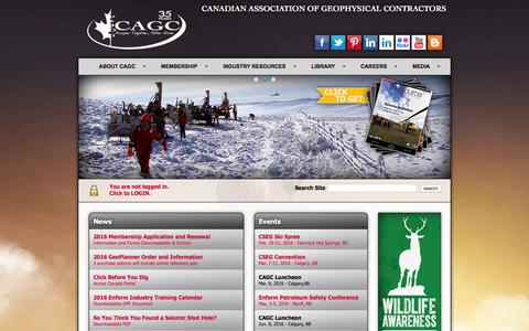 Screenshot of Home Page cagc.ca - CAGC - Canadian Association of Geophysical Contractors - captured Jan. 24, 2016