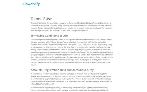 Screenshot of Terms Page coworkify.com - Coworkify | Coworking management software - captured Oct. 28, 2014