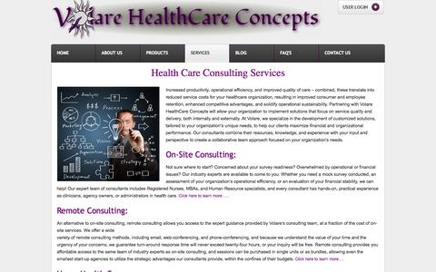 Screenshot of Services Page volarehealthcare.com - Health Care Consulting Services | Volare HealthCare Concepts - captured Oct. 26, 2014