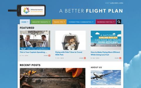 Screenshot of Blog airlines.org - Airlines For America | A Better Flight Plan - captured Nov. 2, 2014