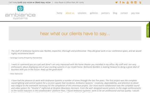 Screenshot of Testimonials Page ambiancesystems.com - See What Our Albany, New York Clients Have To Say - captured July 25, 2016