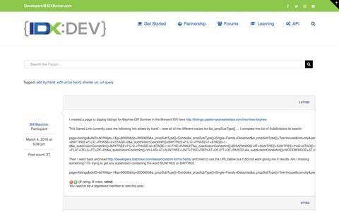 Screenshot of Developers Page idxbroker.com - Shorter URL for 2 Subdivisions – IDX Broker Developer - captured Sept. 18, 2017
