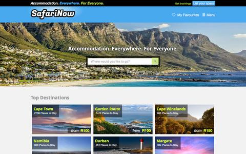 Screenshot of Home Page safarinow.com - South Africa accommodation, hotels, self catering, 22365 places to stay in 68 countries! - captured Dec. 2, 2015