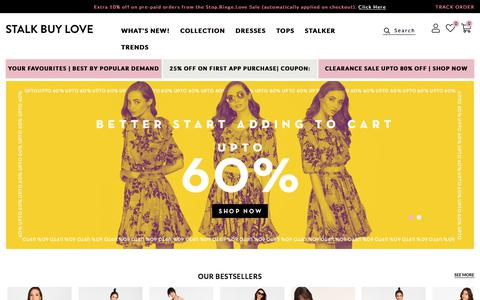 Screenshot of Home Page stalkbuylove.com - Online Shopping - Fashion Shopping Site for Women in India | Stalkbuylove - captured Sept. 19, 2018