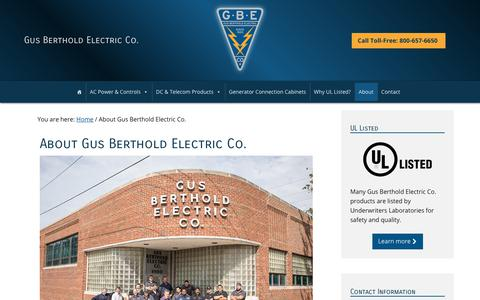 Screenshot of About Page bertholdelectric.com - Gus Berthold Electric Co.   About Gus Berthold Electric Co. - captured Sept. 30, 2018