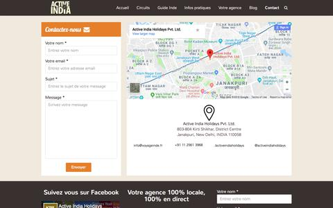Screenshot of Contact Page voyageinde.fr - Contact - Voyage Inde - captured March 15, 2018