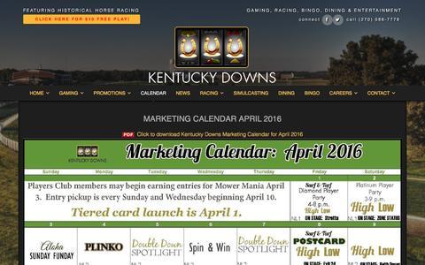 Screenshot of kentuckydowns.com - Calendar April 2016 - Kentucky Downs - captured March 30, 2016