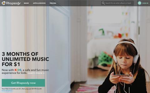 Screenshot of Home Page rhapsody.com - Rhapsody - Music Streaming - captured Dec. 14, 2015