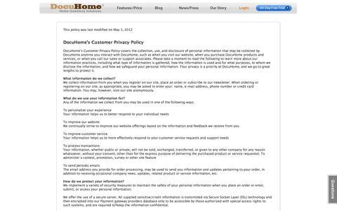 Screenshot of Privacy Page docuhome.com - Our Privacy Policy : Home Inventory Services : Home Inventory Software MAC : DocuHome.com - captured Sept. 30, 2014