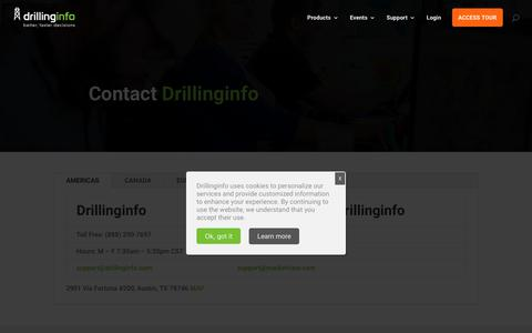 Screenshot of Contact Page drillinginfo.com - Contact Us - captured Aug. 8, 2018