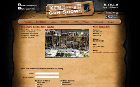 Screenshot of Contact Page crossroadsgunshows.com - Subscribe to Our Newsletter   Crossroads of the West Gunshows - captured April 7, 2016