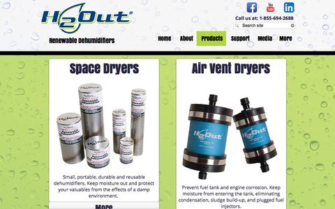 Screenshot of Products Page h2out.com - H2Out : Products : Renewable Dehumidifiers : Space & Air Vent Dryers - captured Oct. 8, 2016