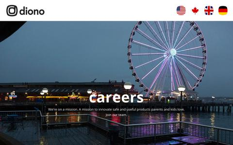 Screenshot of Jobs Page diono.com - Careers - diono - captured July 22, 2019