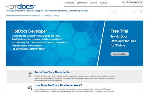 Screenshot of Developers Page hotdocs.com - HotDocs Developer | Document Assembly Software - captured Oct. 10, 2014