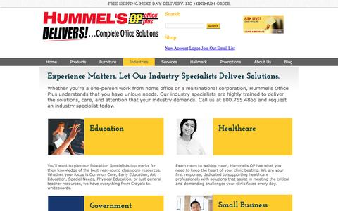 Screenshot of Terms Page hummelsop.com - Industry Specialists - Hummels Office Plus - captured Nov. 15, 2016