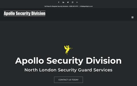 Screenshot of Home Page apollosecurityservices.co.uk - Security Services, Security Company | North London - Apollo Security Division - captured Nov. 12, 2018
