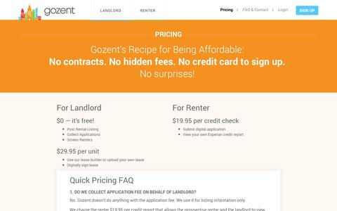 Screenshot of Pricing Page gozent.com - Pricing | Gozent - rent your residential property digitally - captured Sept. 13, 2014