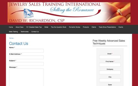 Screenshot of Contact Page jewelrysalestraining.com - Contact Us | Jewelry Sales Training | - captured Nov. 27, 2016