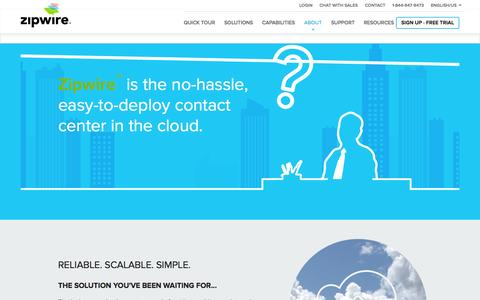 Screenshot of About Page aspect.com - About Zipwire Cloud Contact Center Solution | Zipwire - captured Oct. 26, 2014