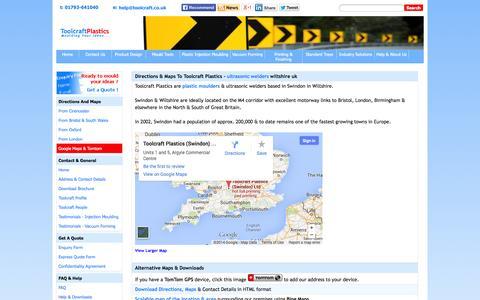 Screenshot of Maps & Directions Page toolcraft.co.uk - ultrasonic welders & plastic moulders in wiltshire uk - get directions & maps to Toolcraft - captured Oct. 7, 2014