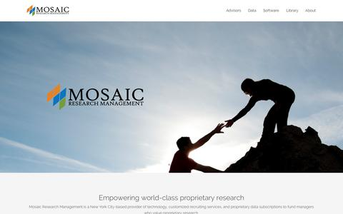 Screenshot of Home Page mosaicrm.com - Home - Mosaic Research Management - captured Oct. 6, 2014