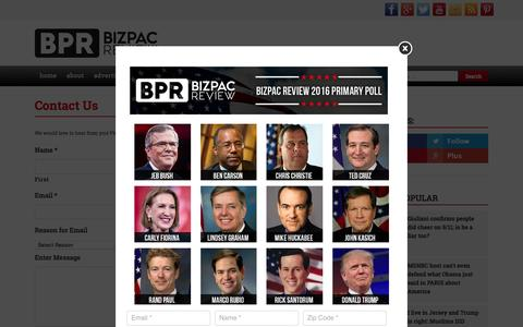 Screenshot of Contact Page bizpacreview.com - Contact Us | BizPac Review - captured Dec. 3, 2015