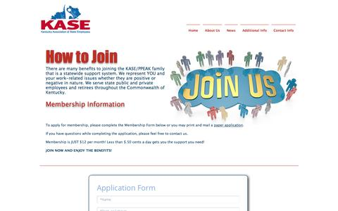Screenshot of Signup Page kaseky.org - KASE - Kentucky Association of State Employees   How to Join - captured Nov. 27, 2016