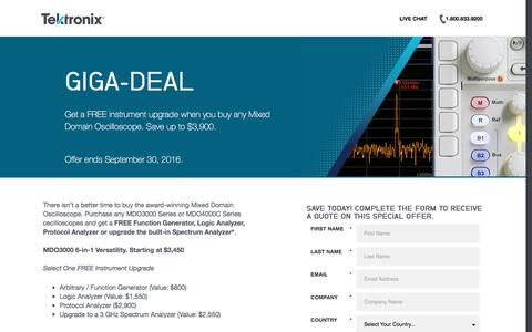 Screenshot of Landing Page tek.com - Tektronix | Giga-Deal Sales Offer - captured Oct. 2, 2016