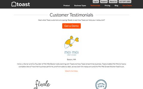 Screenshot of Testimonials Page toasttab.com - Toast Customer Testimonials - captured Sept. 23, 2015