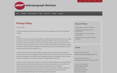Screenshot of Privacy Page imprinters.com - Addressograph Bartizan, credit card, imprinters, company, contact, privacy   Imprinters - captured Oct. 4, 2014