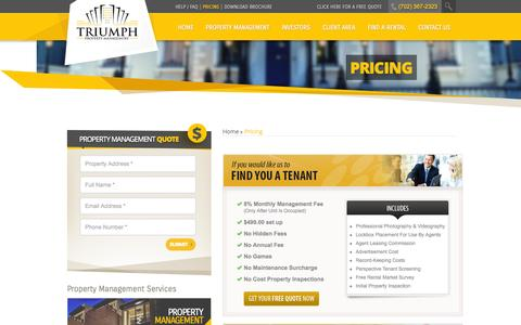 Screenshot of Pricing Page triumphpropertymanagement.com - Pricing | Triumph Property Management - captured Oct. 8, 2014