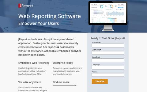 Screenshot of Landing Page jinfonet.com - JReport -  Web Reporting - captured Sept. 22, 2017