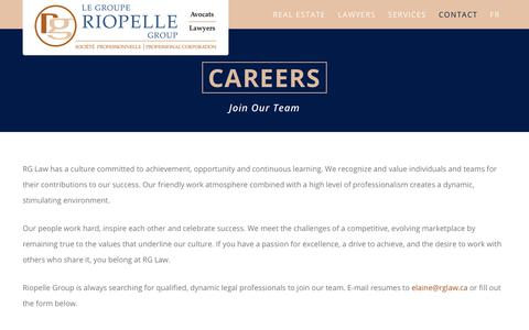 Screenshot of Jobs Page rglaw.ca - Careers - Riopelle Group - captured Oct. 26, 2017