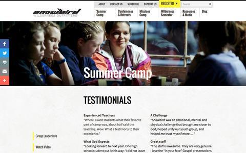 Screenshot of Testimonials Page swoutfitters.com - Testimonials : Snowbird Wilderness Outfitters - captured Oct. 13, 2016