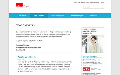 Screenshot of Press Page adeccogroupna.com - News & analysis - Adecco Group North America - captured Oct. 4, 2014