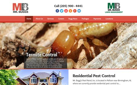 Screenshot of Home Page mrbuggs.com - Mr Buggs Pest Patrol | Birmingham Pest Control - captured Oct. 18, 2018