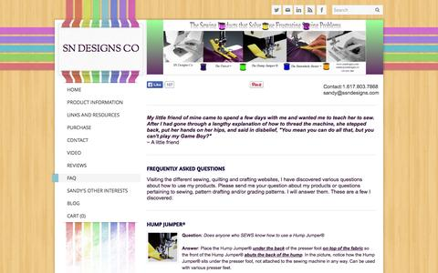Screenshot of FAQ Page ssndesigns.com - FAQ - SN Designs Co - captured Oct. 3, 2014