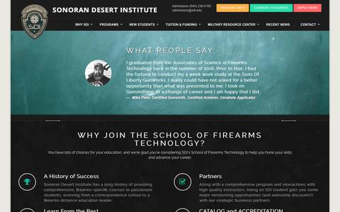 Screenshot of Home Page sdi.edu - Sonoran Desert Institute - Accredited Gunsmithing College - captured Nov. 16, 2018