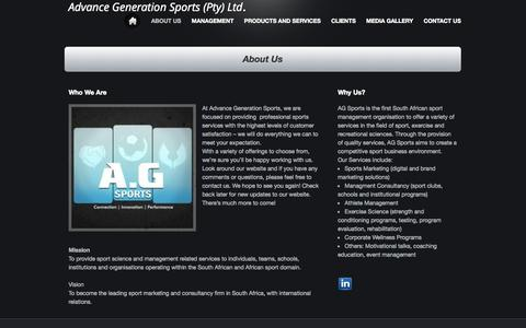 Screenshot of About Page webs.com - Advance Generation Sports Pty Ltd. - About Us - captured Sept. 13, 2014