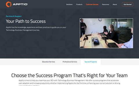 Screenshot of Support Page apptio.com - Success Programs | Apptio - captured Nov. 11, 2015