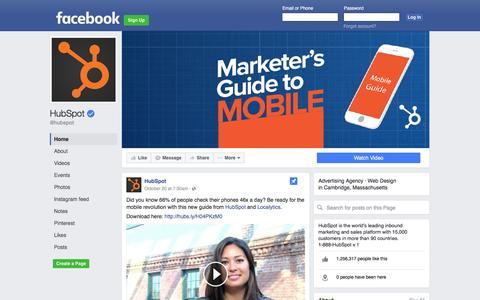Screenshot of Facebook Page facebook.com - HubSpot | Facebook - captured Nov. 19, 2016
