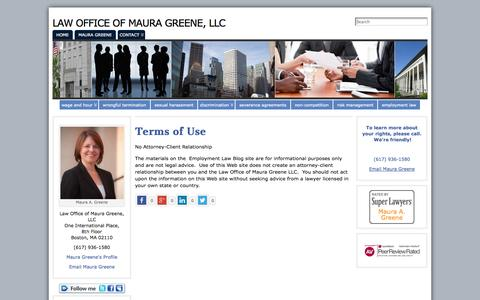 Screenshot of Terms Page mauragreene-law.com - Terms of Use | Law Office of Maura Greene, LLC - captured Oct. 2, 2014