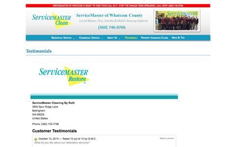 Screenshot of Testimonials Page smofwhatcom.com - Testimonials - ServiceMaster of Whatcom - captured Oct. 26, 2014