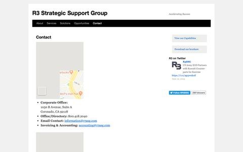 Screenshot of Contact Page r3ssg.com - Contact | R3 Strategic Support Group - captured June 20, 2019