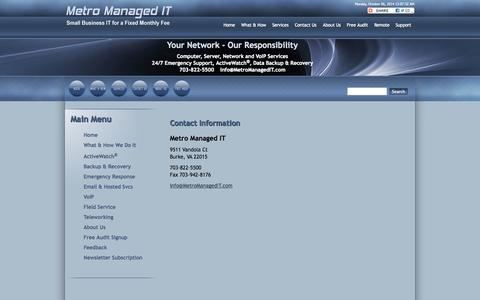 Screenshot of Contact Page finntechit.com - MMIT - About Metro Managed IT - captured Oct. 6, 2014