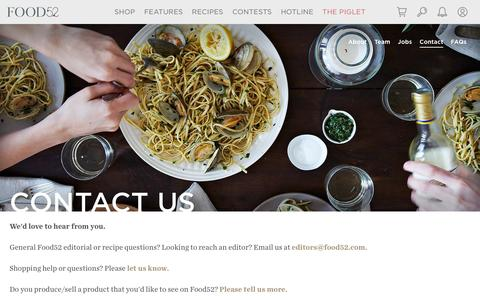 Screenshot of Contact Page food52.com - Contact Us - Food52 - captured March 10, 2016