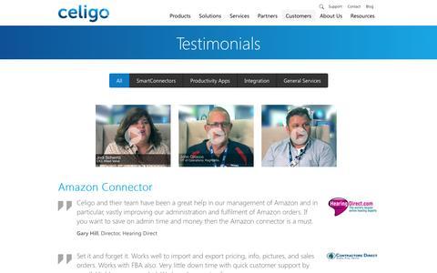 Screenshot of Testimonials Page celigo.com - Testimonials | Celigo - captured Sept. 19, 2014