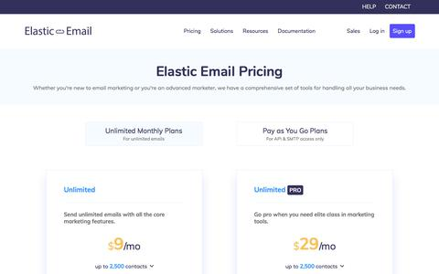 Screenshot of Pricing Page elasticemail.com - Pricing and Plans | Elastic Email - captured Sept. 14, 2019