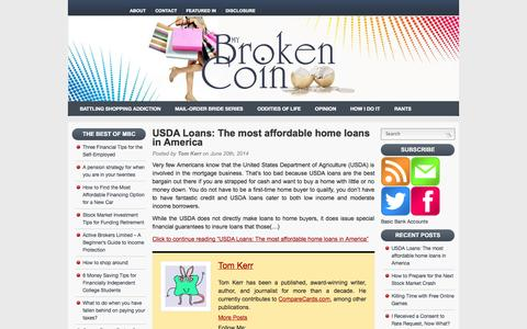 Screenshot of Home Page mybrokencoin.com - My Broken Coin A Spender's Point of View on Personal Finance - captured Sept. 25, 2014